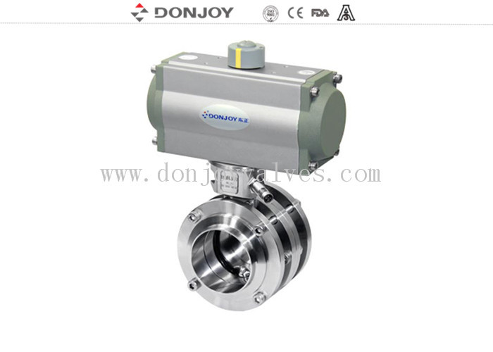 Stainless Steel Sanitary Aluminum Actuator 3 Piece Flange Butterfly Valves