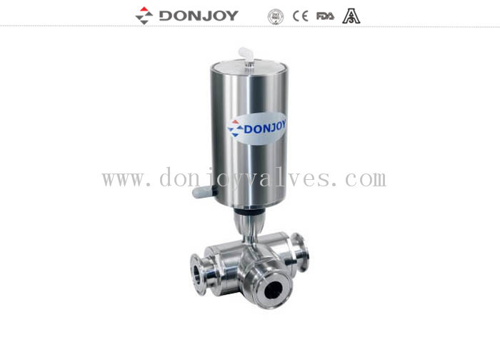 "Vertical Pneumatic 3 way ball valve 1/2""-4"" SS304 / 316L Materials Clamped"